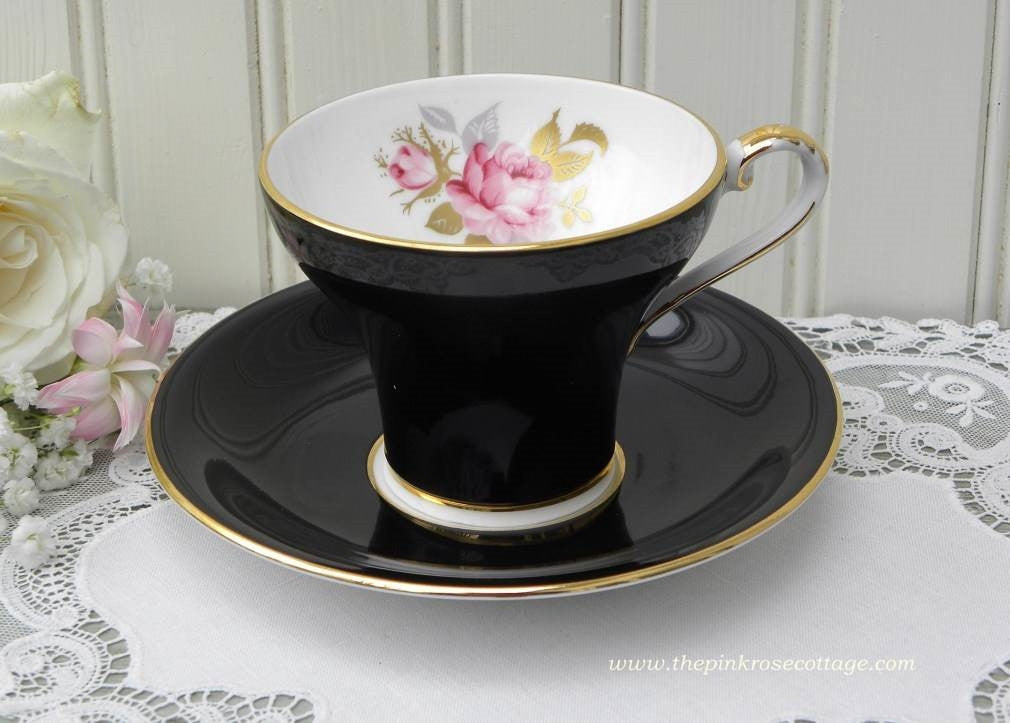 Vintage Aynsley Corset Black Teacup and Saucer with Pink and Gold Roses - The Pink Rose Cottage
