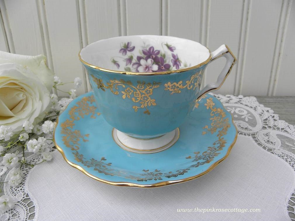Vintage Aynsley Teal Teacup and Saucer with Purple Violets - The Pink Rose Cottage