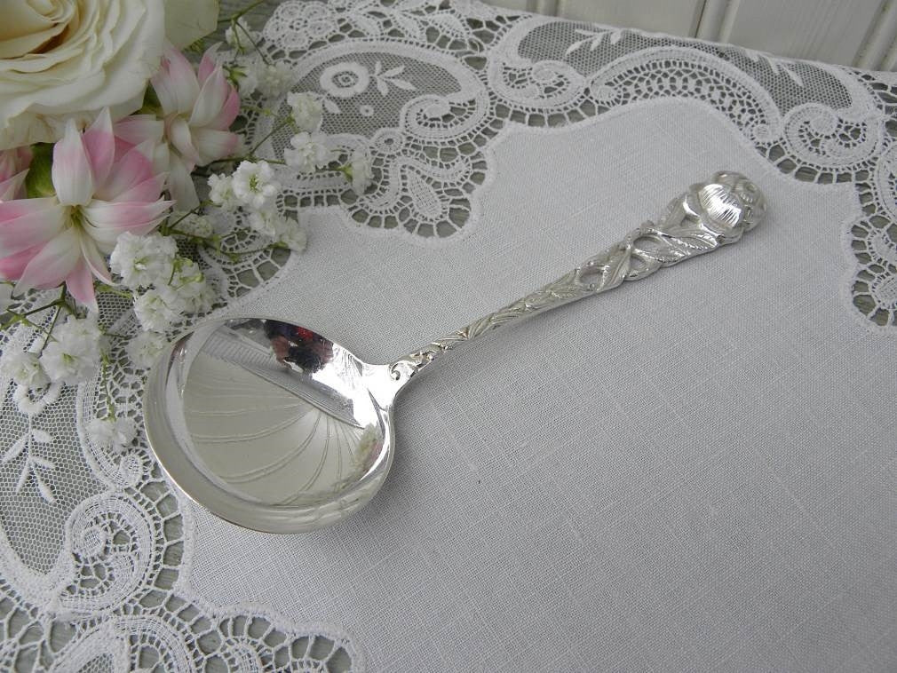 Vintage Silver Plated Rose Handle Condiment Serving Spoon - The Pink Rose Cottage