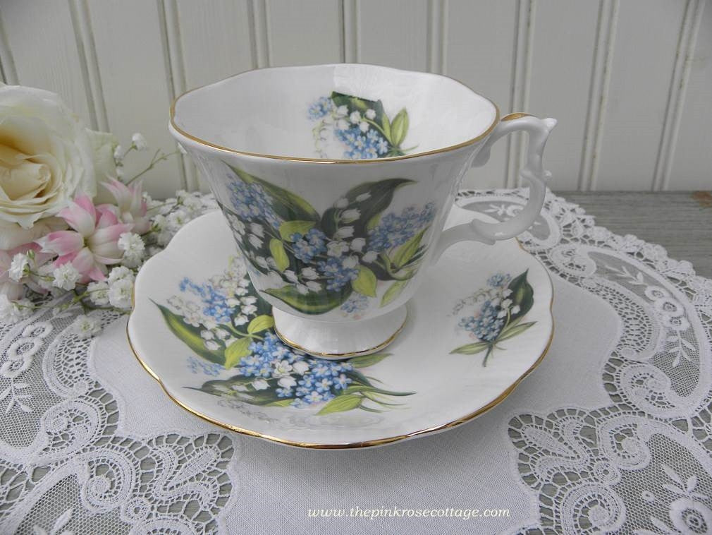 Vintage Royal Albert Lily of the Valley and Blue Forget-Me-Not Teacup and Saucer - The Pink Rose Cottage