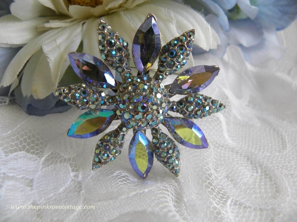 Vintage Blue Aurora Borealis Rhinestone Flower Brooch Pin - The Pink Rose Cottage