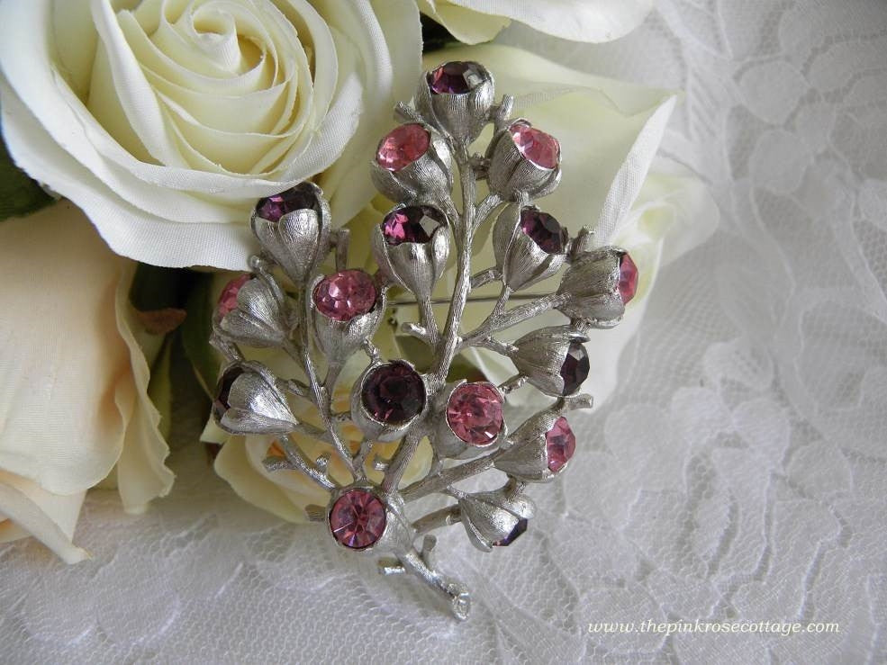 Vintage Sarah Coventry Pink and Purple Rhinestone Pin Brooch - The Pink Rose Cottage