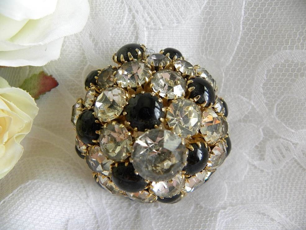 Unusual Vintage Black and Crystal Rhinestone Pin Brooch - The Pink Rose Cottage