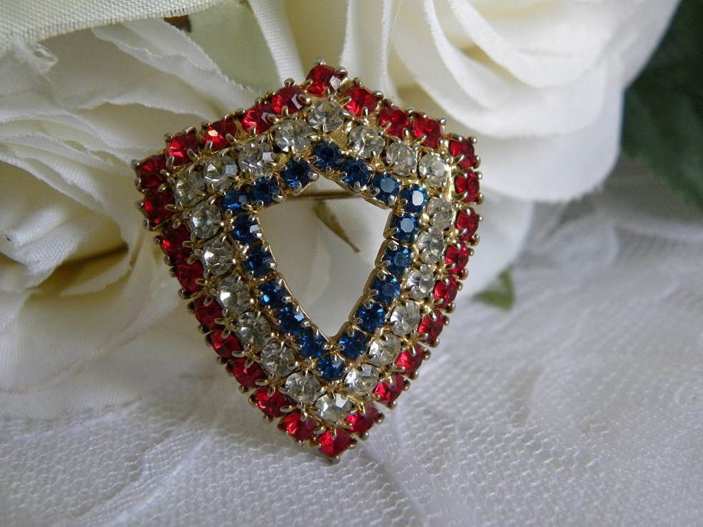 Vintage Patriotic Red White and Blue Rhinestone Shield Pin Brooch - The Pink Rose Cottage