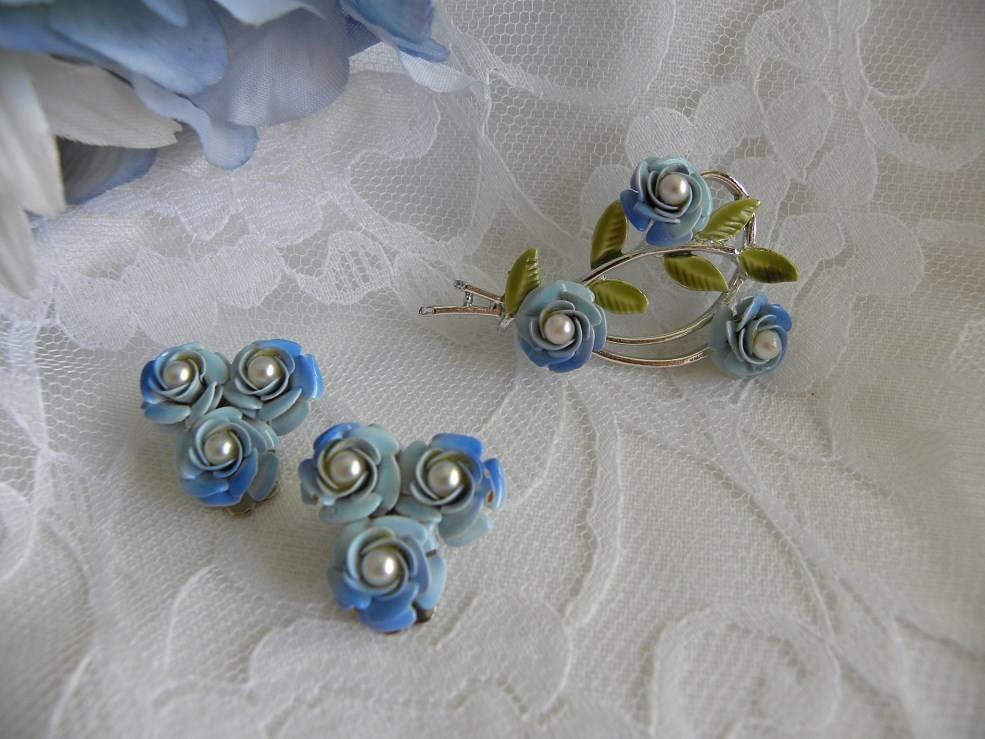 Vintage Coro Enameled Blue Rose and Pearl Brooch and Earrings Set - The Pink Rose Cottage