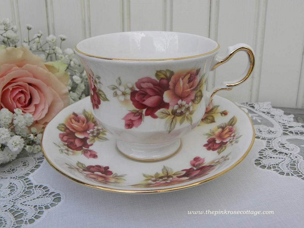 Vintage Queen Anne Magenta and Coral Roses Teacup and Saucer - The Pink Rose Cottage