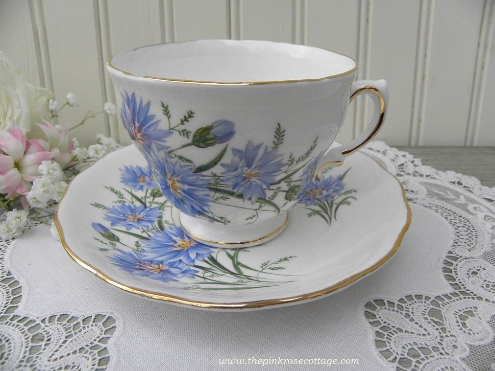 Vintage Bachelor Button Cornflower Teacup and Saucer - The Pink Rose Cottage