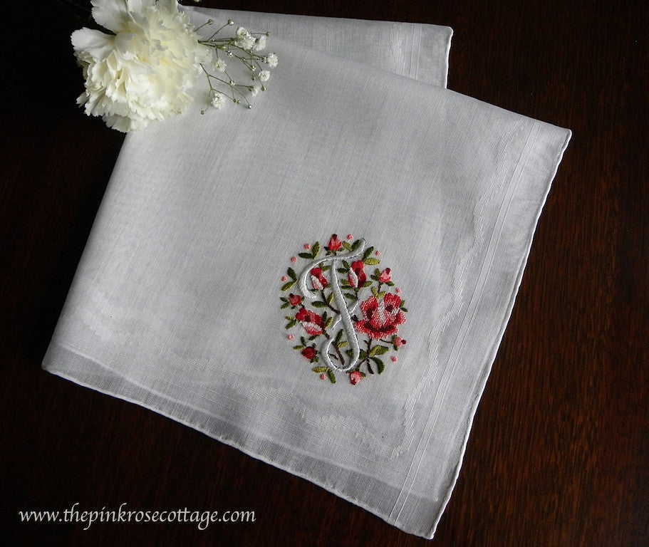 "MWT Vintage Brumel Petite Point Embroidered Pink Roses Monogram ""F"" Handkerchief - The Pink Rose Cottage"