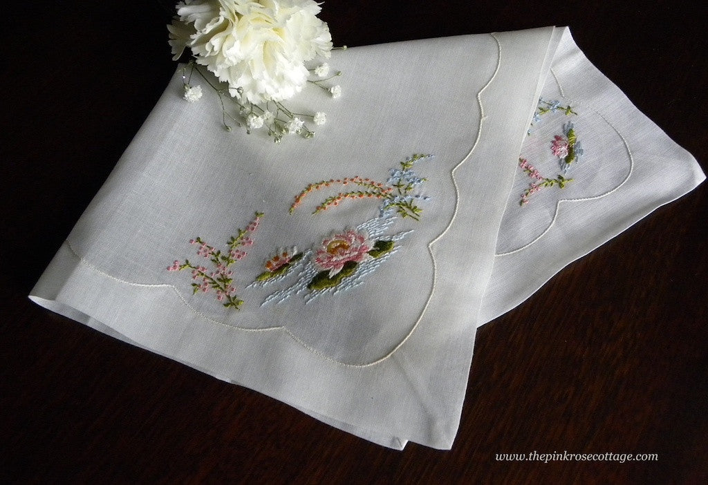 Vintage MWT Hamilton Embroidered Water Lily Handkerchief - The Pink Rose Cottage