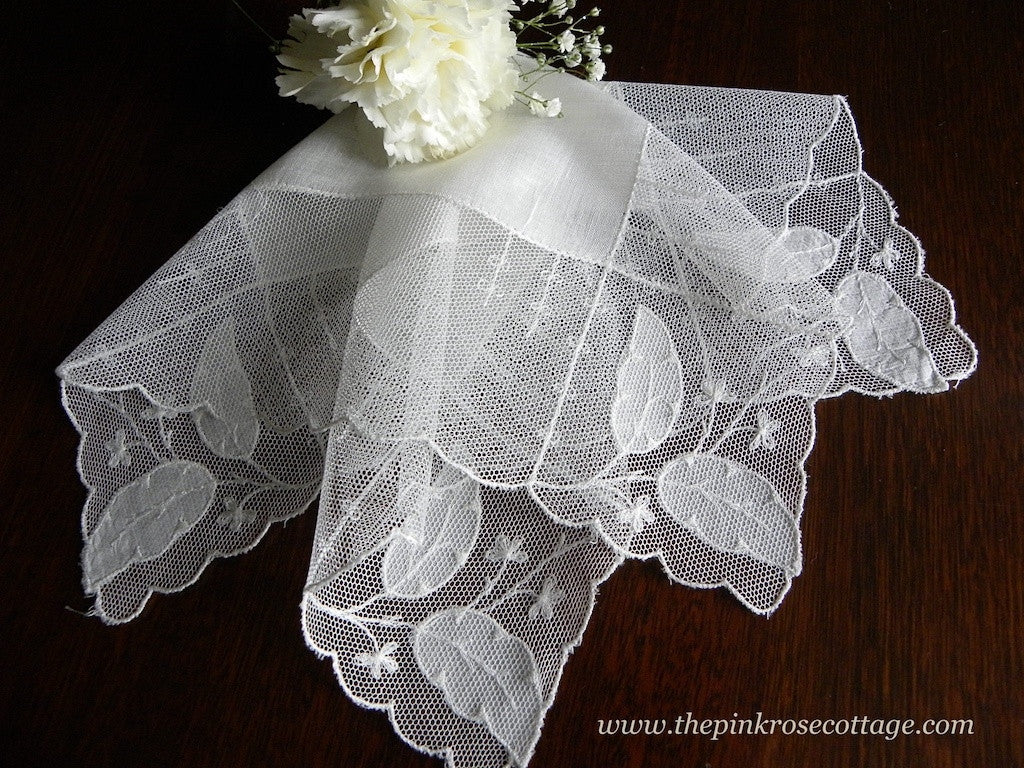 Vintage Net Lace with Applique and Embroidery Bridal Wedding Handkerchief - The Pink Rose Cottage
