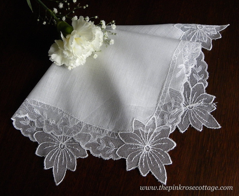 Vintage Net Lace Embroidered Bridal Wedding Handkerchief - The Pink Rose Cottage