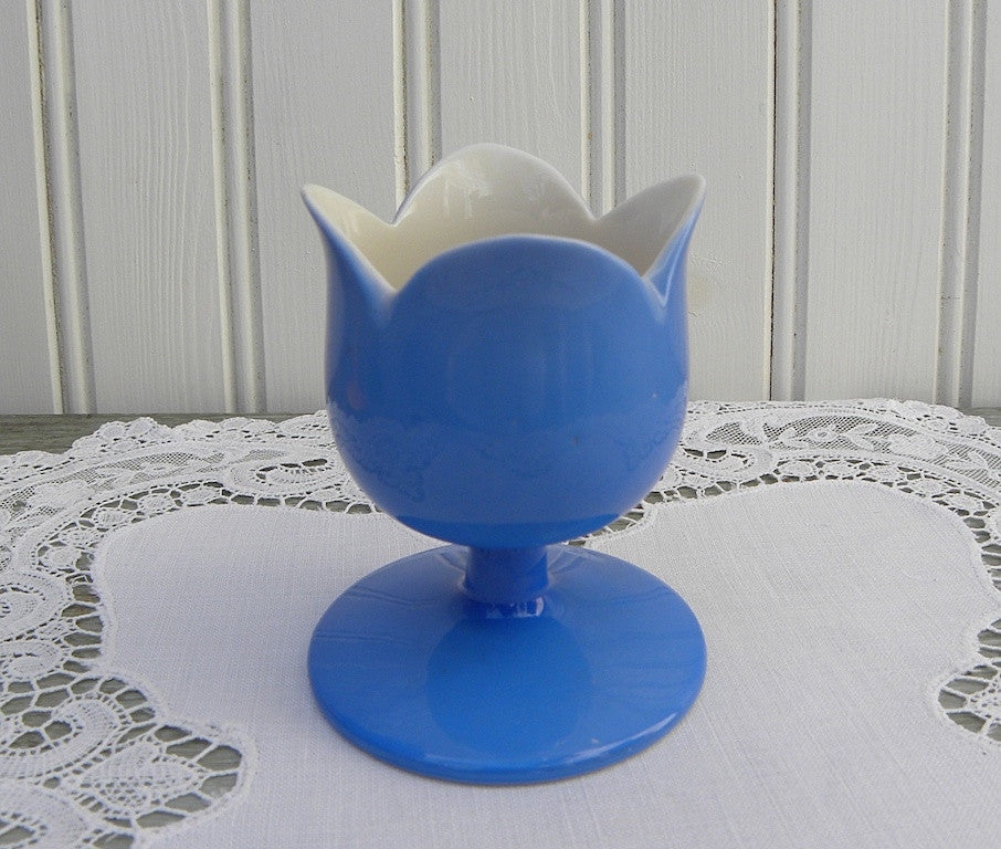 Vintage Tulip Egg Cup Eggcup Japan Blue - The Pink Rose Cottage