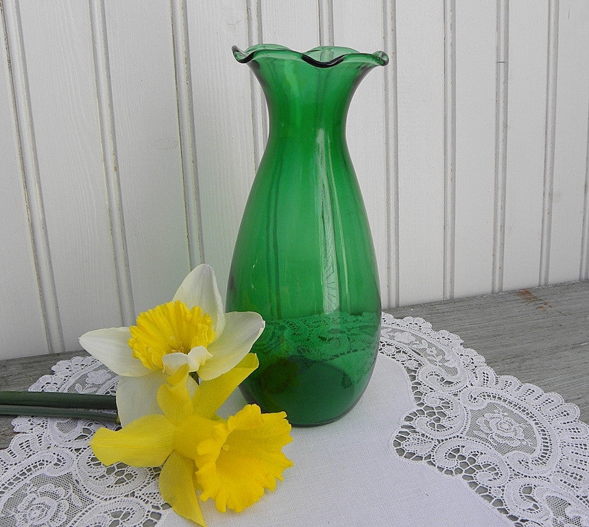 Vintage Anchor Hocking Depression Glass Forest Tall Green Vase The