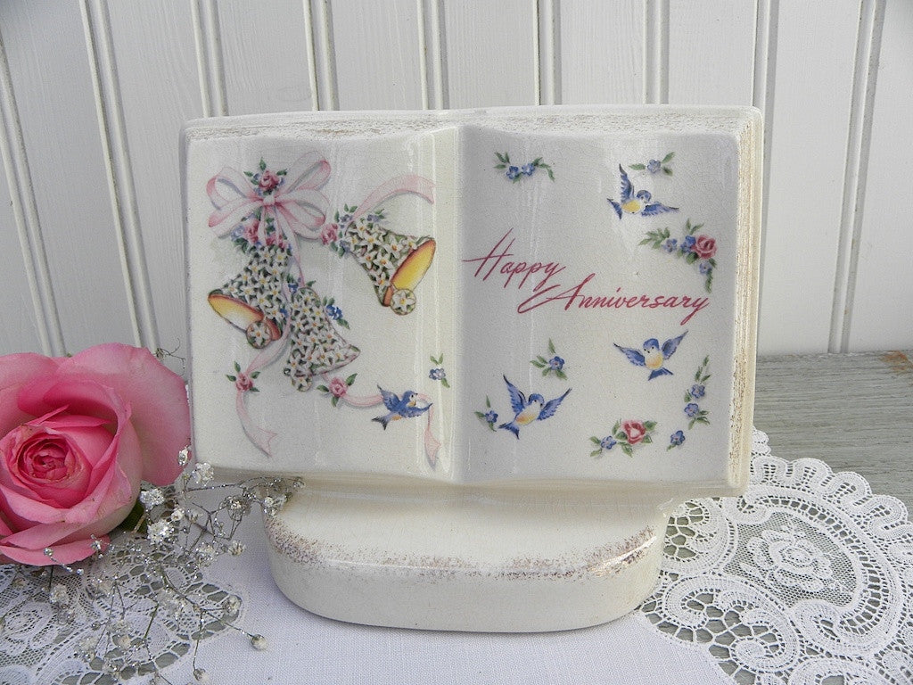 "Vintage Royal Windsor ""Books Of Rememberance"" Happy Anniversary Vase Planter - The Pink Rose Cottage"
