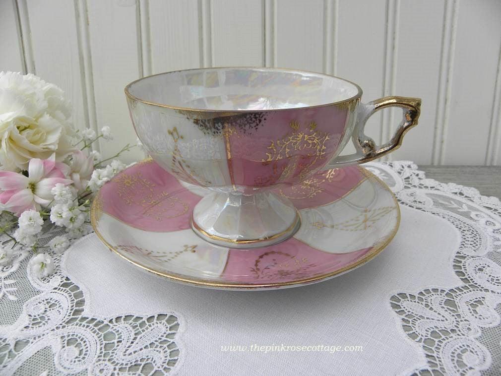 Vintage Iridescent Pink and White Pedestal Teacup and Saucer - The Pink Rose Cottage