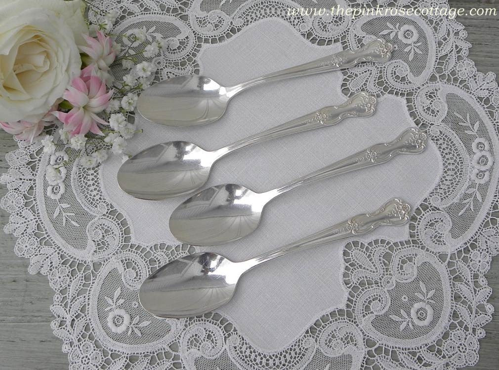 "Set of 4 Vintage Wm Rogers Mfg ""Magnolia"" Silver Plated Teaspoon - The Pink Rose Cottage"