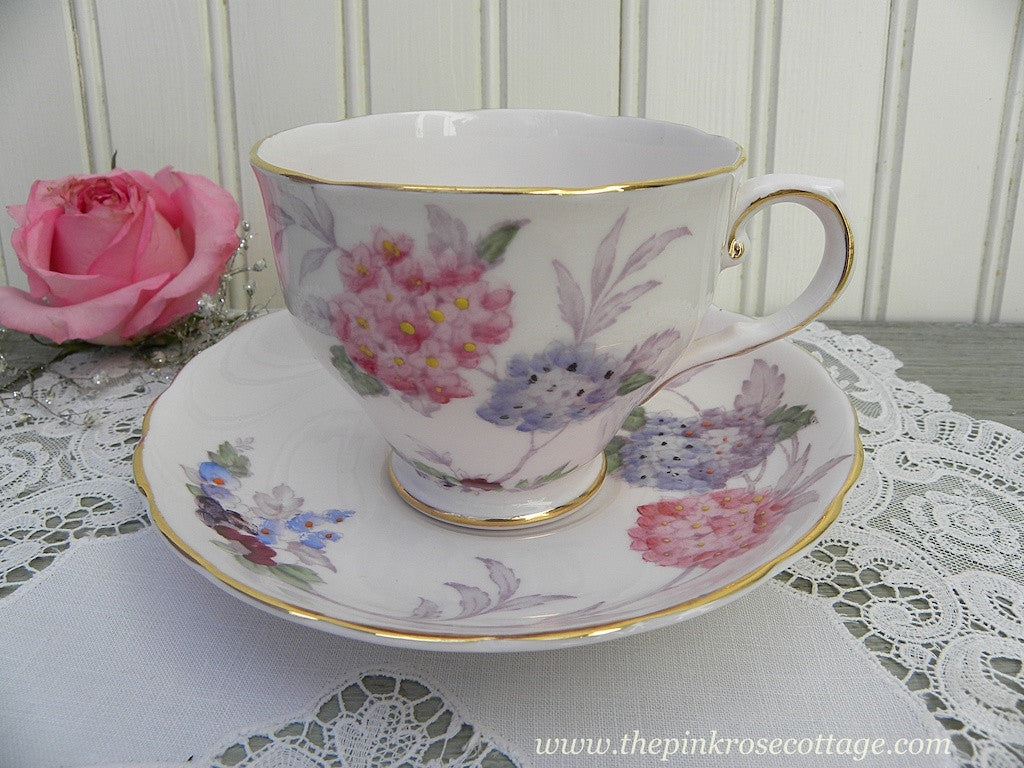 Vintage Tuscan Pink Teacup and Saucer with Pink and Purple Hydrangea - The Pink Rose Cottage