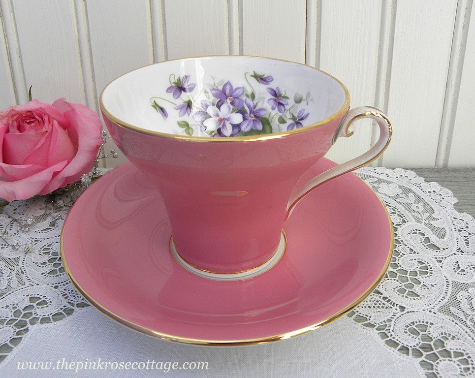 Vintage Tagged Aynsley Pink Corset Teacup and Saucer with Violets - The Pink Rose Cottage