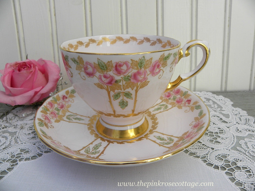 Vintage Tuscan Teacup and Saucer Pink with Pink Roses and Gold - The Pink Rose Cottage