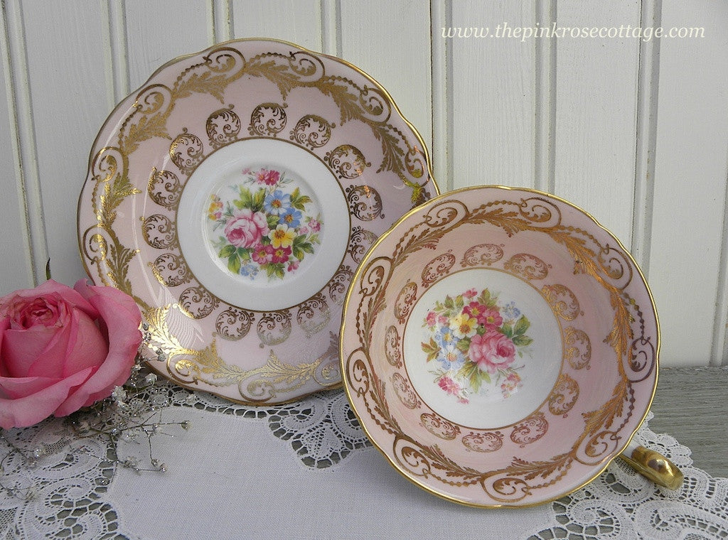 Vintage Pink Teacup and Saucer with Roses, Wildflowers, and Gold Gilt - The Pink Rose Cottage