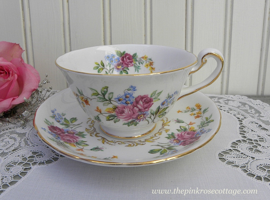 Vintage Royal Chelsea Pink Rose Teacup and Saucer - The Pink Rose Cottage