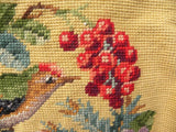 Vintage Needlepoint Roses Cherries Bird Handbag Purse - The Pink Rose Cottage