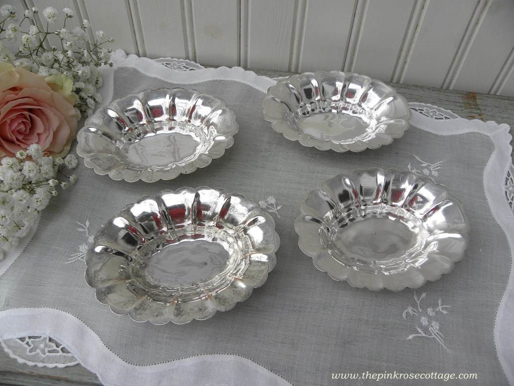 Set of 4 Vintage Rogers Silverplate Nut Cups or Mint Dishes - The Pink Rose Cottage