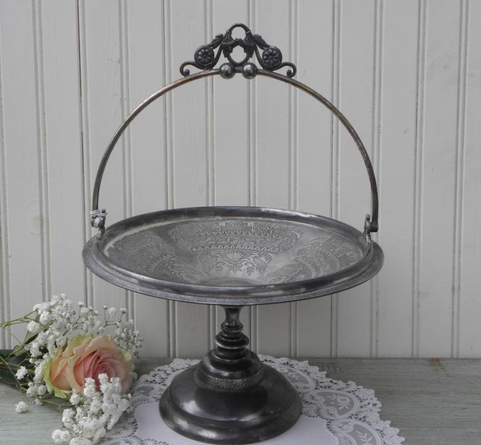 Antique Victorian Silver Plated Ornate Bride's Basket Centerpiece - The Pink Rose Cottage
