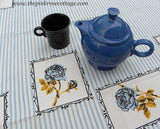 "MWT Vintage Town House's Designer Original ""Rose Stripe"" Blue Rose Tablecloth - The Pink Rose Cottage"