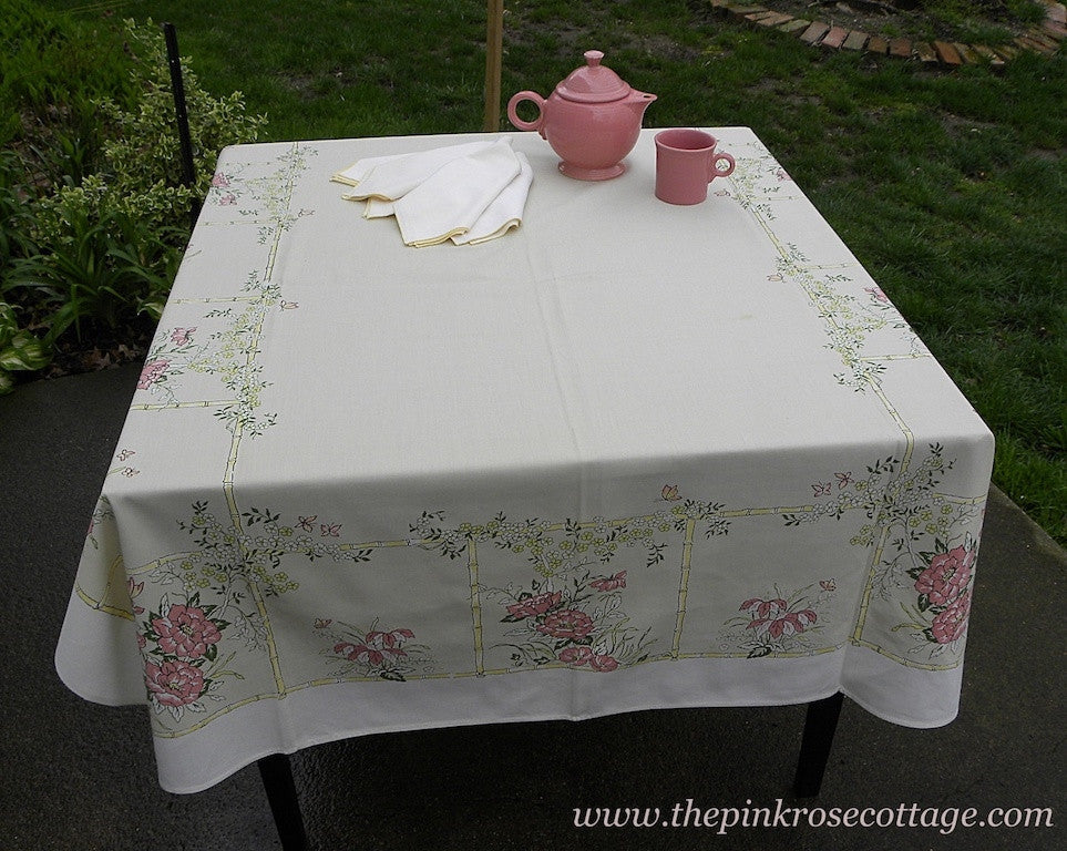 Vintage Tablecloth and Napkin Set Pink Lilies Bamboo and Butterflies - The Pink Rose Cottage
