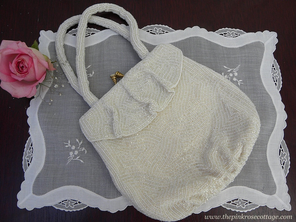 Hand Made Vintage White Pearl Beaded Evening Bag with Rhinestone Clasp - The Pink Rose Cottage