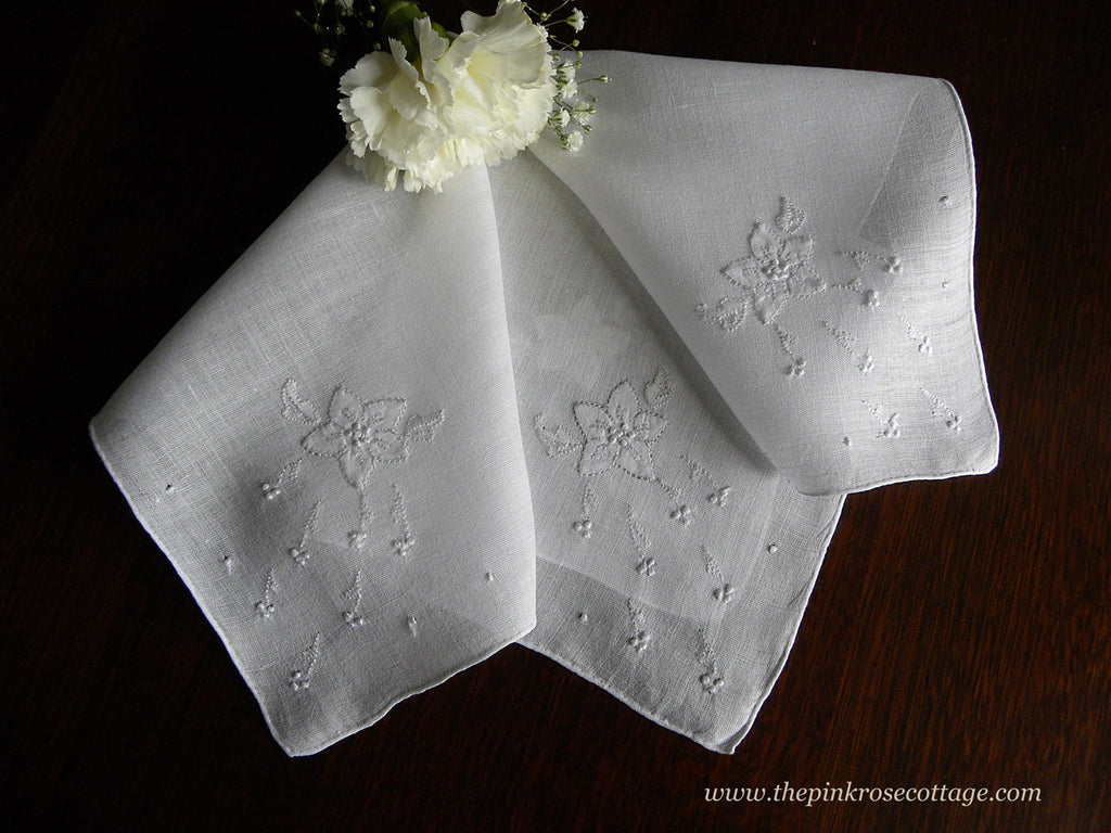 Vintage Whitework Appliqued Embroidered Wedding Bridal Handkerchief - The Pink Rose Cottage