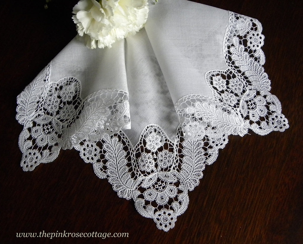 Antique Linen Floral Schiffli Lace Bridal Wedding Handkerchief - The Pink Rose Cottage