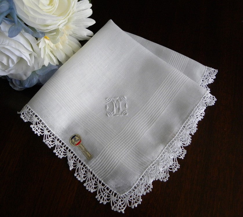 "Vintage MWT Madeira  Linen and Lace Monogram ""M"" Handkerchief - The Pink Rose Cottage"