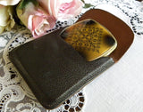Vintage Art Deco Powder and Rouge Compact with Leather Case - The Pink Rose Cottage
