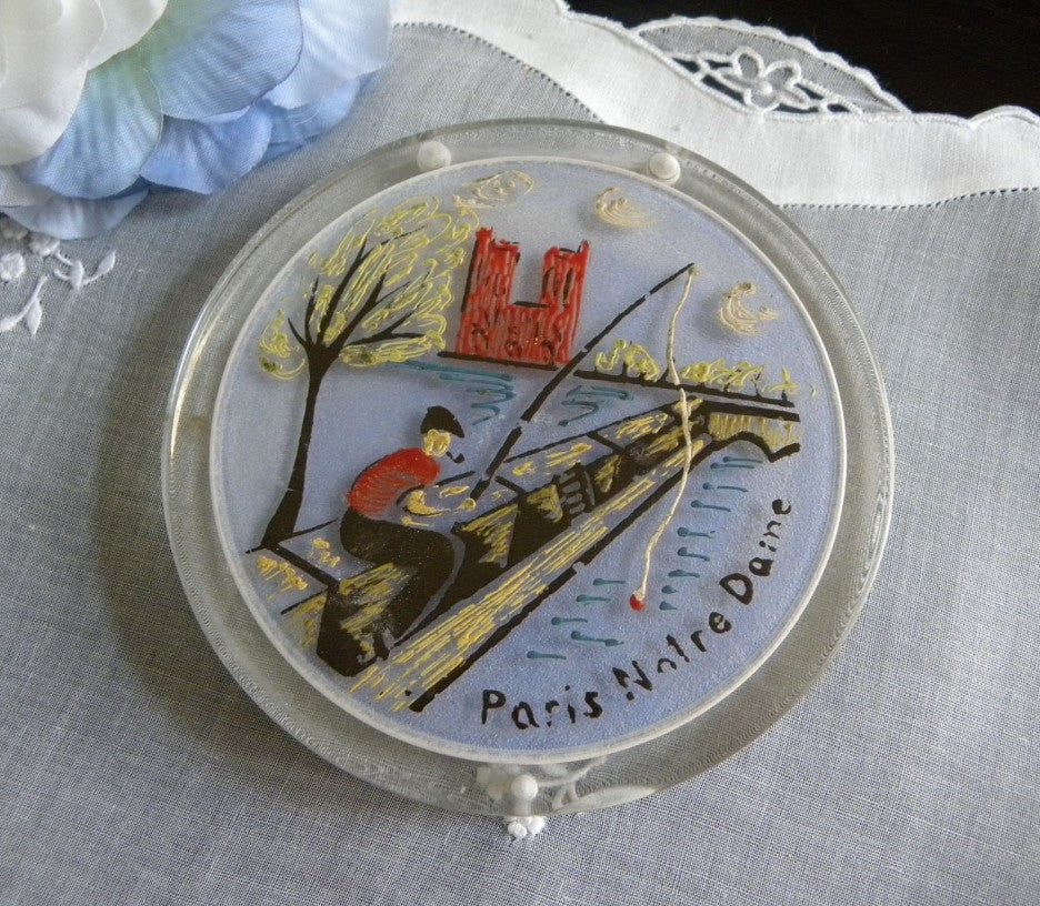 Vintage Lucite Powder Compact Souvenir of Paris, Notre Dame - The Pink Rose Cottage