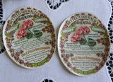 Vintage 1906 Perfume Toilet Powder Labels with Violets & Geraniums - The Pink Rose Cottage