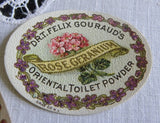 Vintage 1906 Perfume Toilet Powder Labels Violets & Geranium 2 Sizes - The Pink Rose Cottage