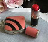 Vintage Art Deco Pink and Black Powder Compact Lipstick Set in Box - The Pink Rose Cottage