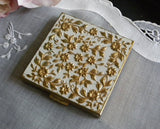 Vintage Volupte Powder Compact with Chintz Flowers - The Pink Rose Cottage