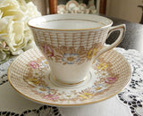 Vintage Rosina Flower Basket Teacup and Saucer - The Pink Rose Cottage