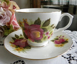 Vintage Fuchsia Pink Rose and Buttercup Teacup and Saucer - The Pink Rose Cottage