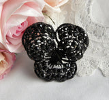 Vintage Weiss Black Rhinestone Pansy Pin Brooch - The Pink Rose Cottage
