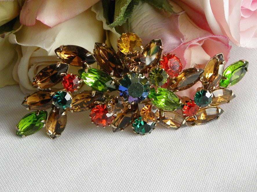 Vintage Large Jewel Tone Colored Rhinestone Brooch Pin - The Pink Rose Cottage