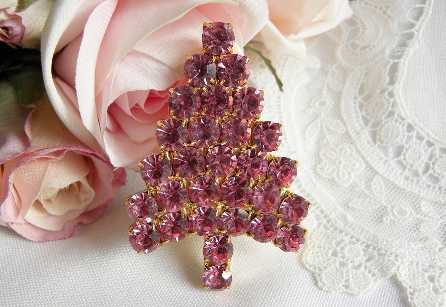 Anthony Attruia Swarovski Pink Christmas Tree Brooch Pin - The Pink Rose Cottage