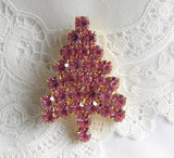 Attruia Swarovski Pink Christmas Tree Brooch Pin - The Pink Rose Cottage