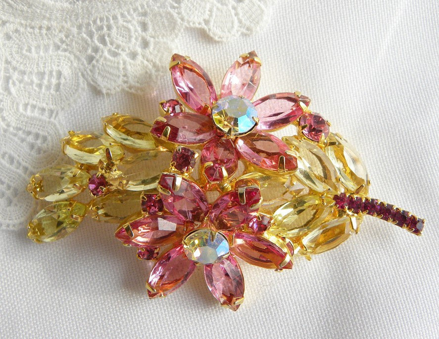 Vintage Citrine and Pink Flower Rhinestone Brooch Pin - The Pink Rose Cottage