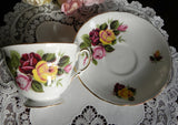 Vintage Royal Vale Pink and Yellow Roses Teacup and Saucer - The Pink Rose Cottage