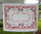 Vintage Pink Fruit Basket and Bows Tablecloth - The Pink Rose Cottage