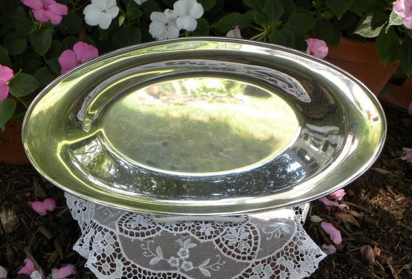 Vintage Silver Bread Plate - The Pink Rose Cottage